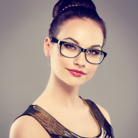 Close-up of fashion glamour model wearing spectacles
